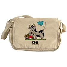 Cartoon Cow by Lorenzo Messenger Bag