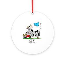 Cartoon Cow by Lorenzo Round Ornament