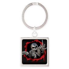 Chrome Skull Square Keychain
