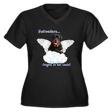Rottie Angel Women's Plus Size V-Neck Dark T-Shirt