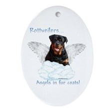 Rottie Angel Oval Ornament
