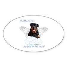 Rottie Angel Oval Decal