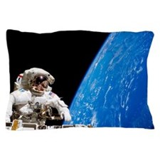 Astronaut performing a spacewalk Pillow Case