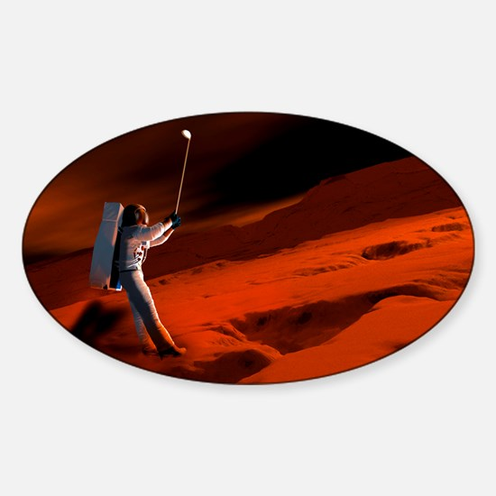 Astronaut playing golf on Mars Sticker (Oval)