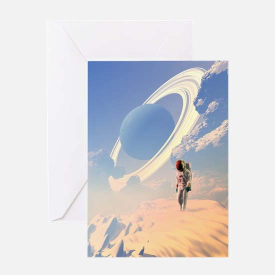 Astronaut exploring a planet Greeting Card