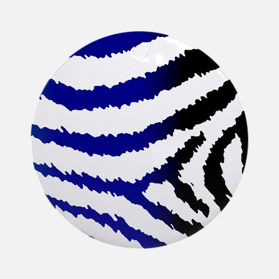 Jagged Abstract Zebra Print Round Ornament