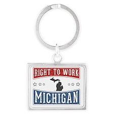 Right To Work Michigan Landscape Keychain