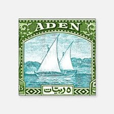 "1937 Aden Dhow Boat Postage Square Sticker 3"" x 3"""