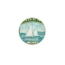 1937 Aden Dhow Boat Postage Stamp Mini Button