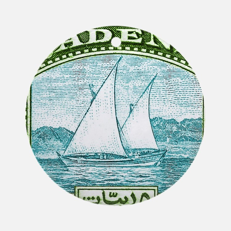 1937 Aden Dhow Boat Postage Stamp Round Ornament