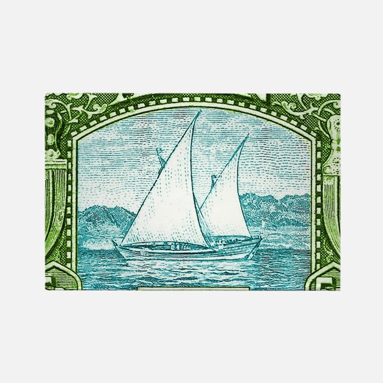 1937 Aden Dhow Boat Postage Stamp Rectangle Magnet