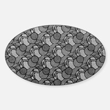 Art Deco Art Nouveau Geometric Sticker (Oval)