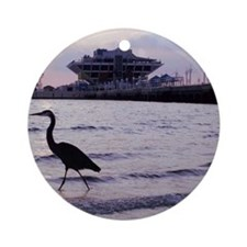 Heron at the Pier Round Ornament
