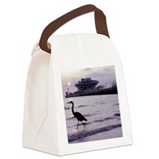 Heron at the Pier Canvas Lunch Bag