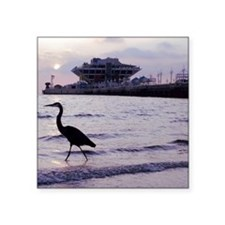 "Heron at the Pier Square Sticker 3"" x 3"""