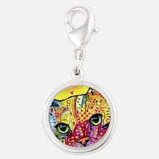 Psychadelic Cat Silver Round Charm