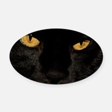 Sexy Black Cat Oval Car Magnet