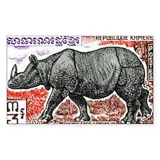 1972 Cambodia Javan Rhino Post Decal