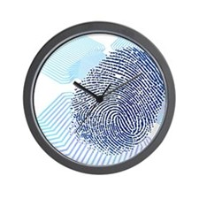 Biometric fingerprint scan, artwork Wall Clock