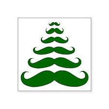 """Merry Moustache Square Sticker 3"""" x 3"""""""