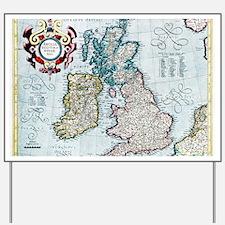 16th century map of the British Isles Yard Sign