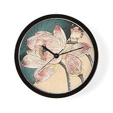 Botanical Lotus Flower Wall Clock