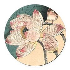 Botanical Lotus Flower Round Car Magnet
