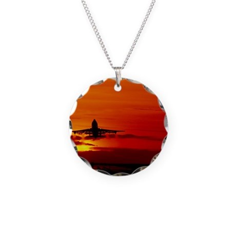 Boeing 747 Necklace Circle Charm