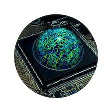 "Brain on a chip 3.5"" Button"
