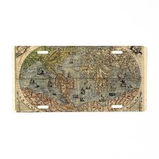 16th century world map Aluminum License Plate