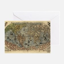 16th century world map Greeting Card