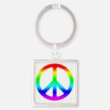 World Peace Ranbow Square Keychain