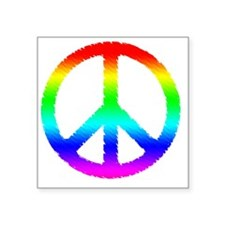 "World Peace Ranbow Square Sticker 3"" x 3"""