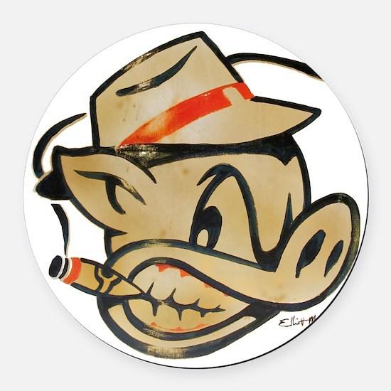 Smokin Pig by Elliott Mattice Round Car Magnet