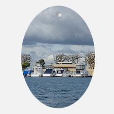 Huntington Harbor Marina Oval Ornament