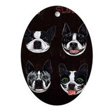 Boston Terriers as KISS Slobbery Oval Ornament