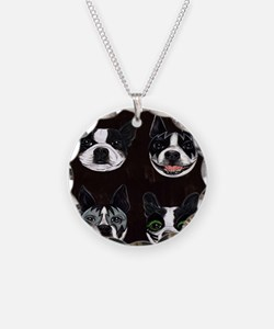 Boston Terriers as KISS Slob Necklace