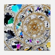 Ammonite fossil, thin section Tile Coaster