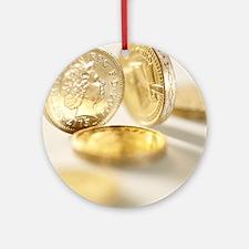 British one pound coins Round Ornament
