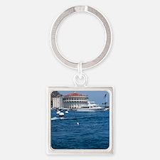 Avalon Harbor Catalina Island Square Keychain