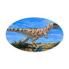 Artwork of a Tyrannosaurus rex din Oval Car Magnet