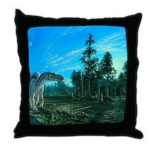 Artwork of a Maiasaura dinosaur Throw Pillow