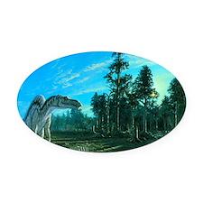 Artwork of a Maiasaura dinosaur Oval Car Magnet