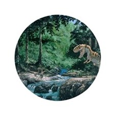 "Artwork of a Tyrannosaurus rex dinosau 3.5"" Button"
