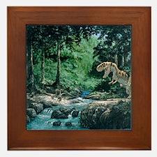 Artwork of a Tyrannosaurus rex dinosau Framed Tile