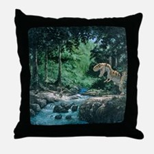 Artwork of a Tyrannosaurus rex dinosa Throw Pillow