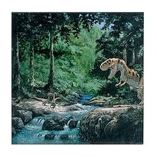 Artwork of a Tyrannosaurus rex dinosa Tile Coaster