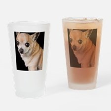 tan chihuahua on black background Drinking Glass