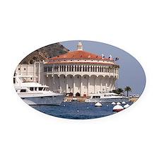 Avalon Harbor Catalina Island Oval Car Magnet