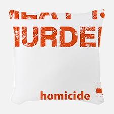 Meat is murder Woven Throw Pillow
